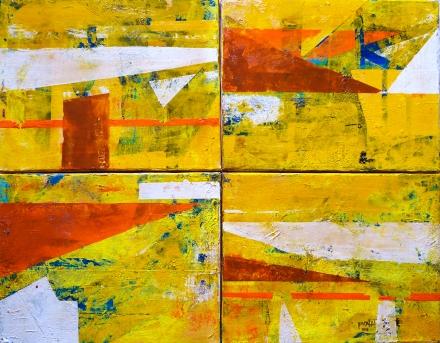 Horizontes Solares-2015 Mixta sobre tela, Poliptico de 4 piezas de 35x45cm