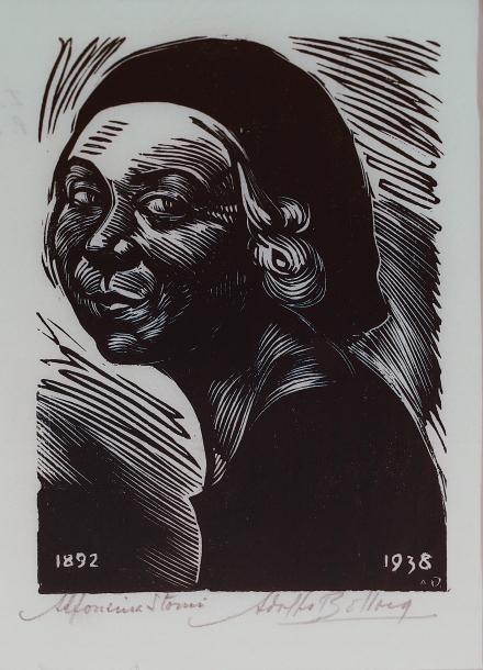 05897 Adolfo Belloca Alfonsina Storni 1938 Xilografía